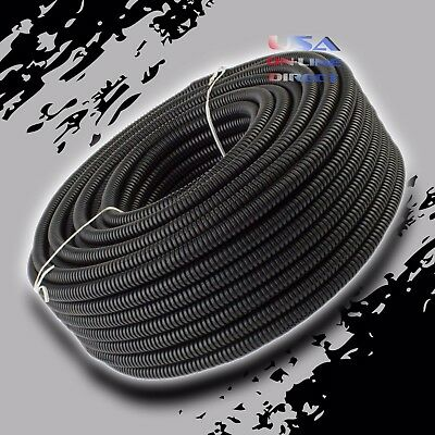 "1/4"" XSCORPION Conduits Split Wire Loom Tubing Black Color Sleeve Tube 100 Ft US"