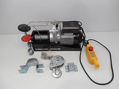 Strong 1,100/2,200-Lb Capacity 110V Electric Cable Hoist Towing Winch