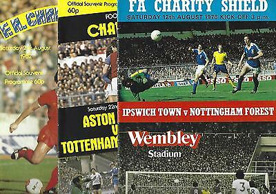 5 x FA Charity Shield programmes 1978-86 IPSWICH FOREST VILLA SPURS EVERTON