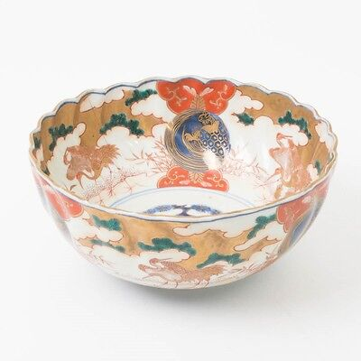 "Antique Japanese Imari Bowl Hand Painted Cranes Turtle Red Gold Footed 7-3/4"" D"