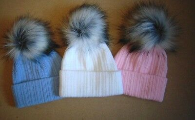 baby hat faux raccoon fur pom pom hat 0-3 months and 3-12 months