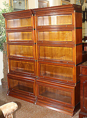 Gorgeous Solid Oak Brass Bound Beveled Glass Sectional Bookcase ONE of TWO