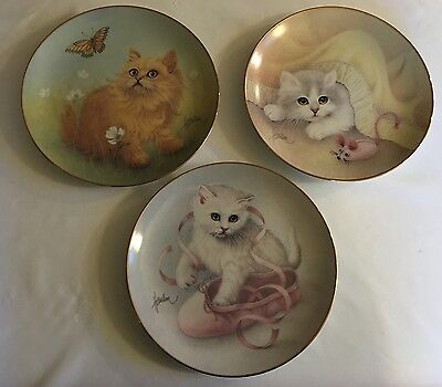 The Hamilton Collection Plate - Glorious Kitten Collection - 1990 Set Of 3