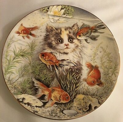Royal Worcester Plate - Kitten Encounters Collection - Fishful Thinking