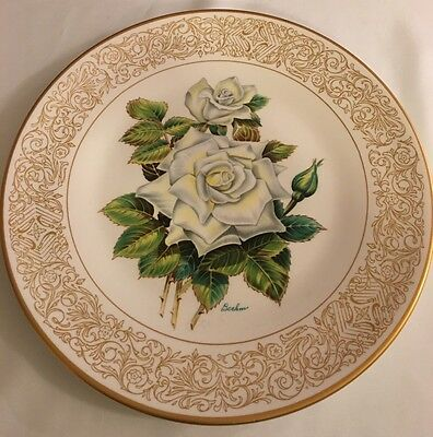 The Edward Marshall Boehm Rose Plate Collection The White Masterpiece Rose