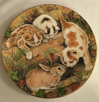 Royal Worcester Plate - Kitten Encounters - Bunny Chase