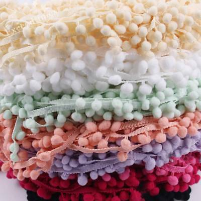 20Yds 10mm Ball Pom Pom Bobble Trim Braid Fringe Ribbon Edge Craft Hat Dress Dec