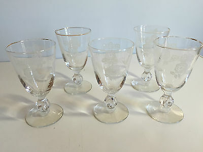 Set of 5 Vintage Libbey WHITE ROSE AND CROWN Etched Footed Cordial Wine Stems