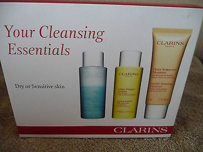 Clarins Your Cleansing Essentials 3 Item Gift Set Dry/Sensitive Skin New In Box