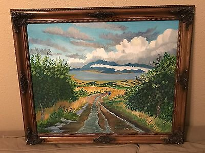 """Summer Storm""  16x20 Original Raymond ""Ray"" Baird Oil Painting Frame Art"