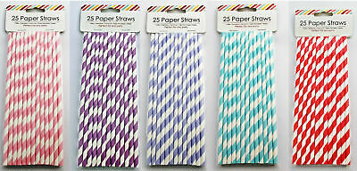 25 x Paper Straws Striped Drinks Party Summer Birthday BUY 1 GET 1 20% OFF