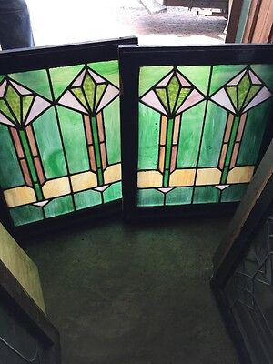 Sg 1505 Two Available Price Separate Antique Stainglass Windows 24.5 X 29.5 H