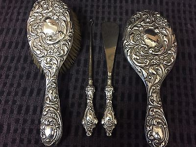 Antique Victorian Solid Silver Part Vanity Set