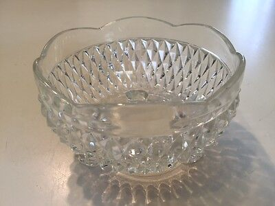 Vintage Indiana Clear Glass Diamond Point 3 Footed Nut Candy Bowl Dish 5""