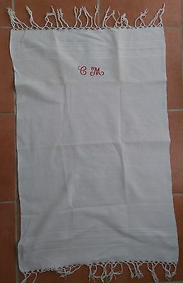 'CM' embroidered French tea / hand towel, vintage