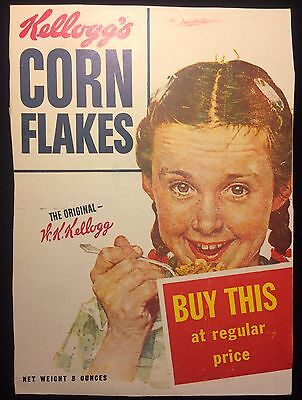 "VTG Kellogg's Corn Flakes ""Norman Rockwell"" Cereal Box Cover Young Girl"
