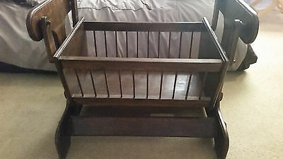 Hand-made infant, wooden cradle - dark stain;excellent condition