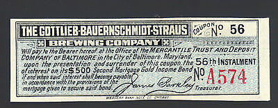 GOTTLIEB BAUERNSCHMIDT STRAUS Brewing Company Gold Bond Coupon Baltimore MD Note