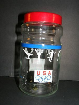 Vintage 1988 USA Olympic Team Maxwell House Sponsor Glass Jar Canister C10