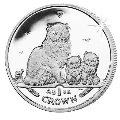 2005 Isle of Man Himalayan Cat Coin 1 oz Silver Proof with Box & Coa