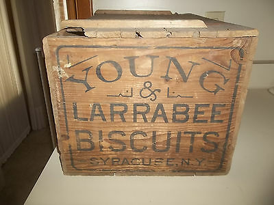 Antique Young & Larrabee Biscuits Wooden Crate Syracuse,Ny No Paper Labels