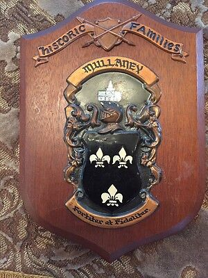 MULLANEY SURNAME Irish Coat of Arms Shield Plaque - Vintage Pre-owned wear tear
