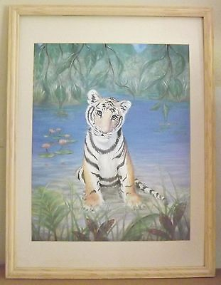 "Guy Rosati ""Calvin The Tiger"" Framed Matted Print without glass 34x26 inch"