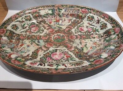 Antique Chinese Canton Large Heavy Stapled Damaged And Pattern Faded Dish