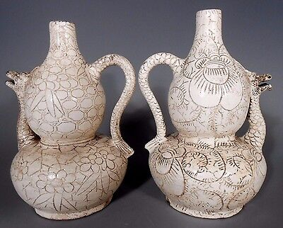 Pair China Chinese Pottery Dragon Shaped Ewers w/ Incised Lotus Decor ca. 19th c
