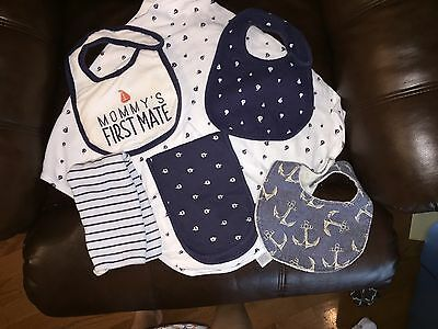 Sailboat Themed Baby Blanket, Bibs, Burp Clothes