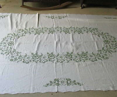 """SL-Vintage 50s 60s ecru linen tablecloth with green cross stitch flowers 64x100"""""""