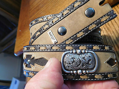 Ariat Western Cowboy Brown Leather Cutout Belt With Silver Metal Conchos Size 32