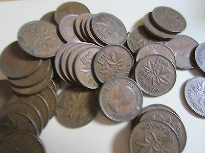 Roll of 1953 Canada Small Cents (50 Coins).