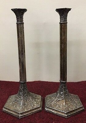 Vintage Derbys P Company 2 Long Thin  Matching Candle Stick Holders
