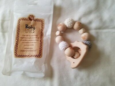Hedgehog Wooden Teether Chew Beads Baby Rattle Teether Organic Toy Chew Ring