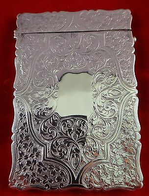 English Birmingham Sterling Silver Card Case w/tooled floral design. 1893