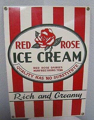 "Tennessee RED ROSE Dairy ICE CREAM Metal Sign 9"" x 13"" Reproduction *"
