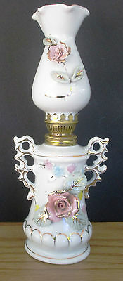 "10"" Porcelain oil lamp white with gold trim,raised roses  Vintage Japan"