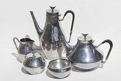 Mid Century Modern Reed and Barton Silver Plated Coffee Tea Set by John Prip