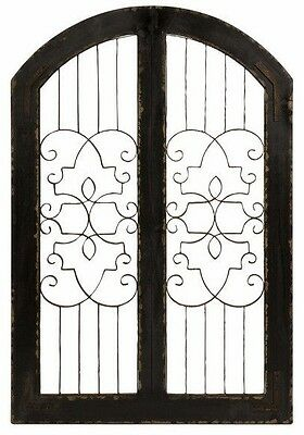 Antique Distressed Vintage Scrolling Wood Iron Arched Gate Door Wall Panel Decor