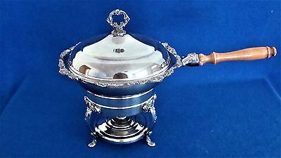 Vintage Sheridan Silver Plate Chafing Dish With Handle, Stand & Alcohol Burner