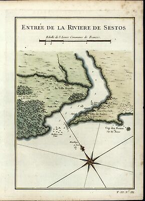 Cestos River Guinea West Africa 1747 Didot old antique map nautical chart color