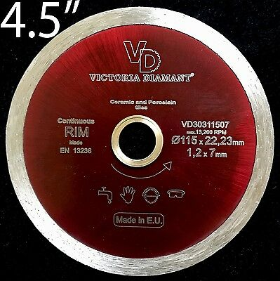 VD Continuous Rim Diamond Thin Saw Blade Porcelain Ceramic Hard Tile 4.5 inch