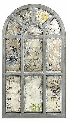 Rustic Vintage Antique Arched Windowpane Wood Mirror Wall Art Panel Home Decor