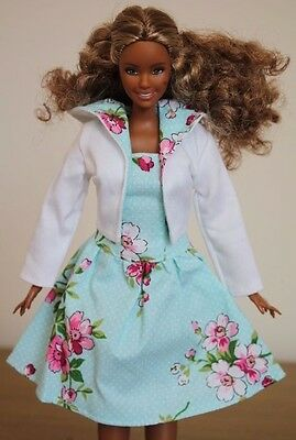 Clothes for Curvy Barbie Doll. Hooded Jacket and blue flower print Dress