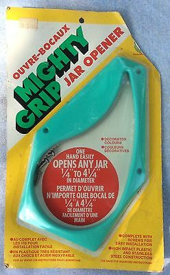 "Mighty Grip Under Cabinet Jar Opener Turquoise Opens Jars .25"" to 4.25"" Vtg"