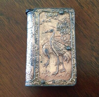 Japanese Copper Match Safe Geisha Birds Cranes