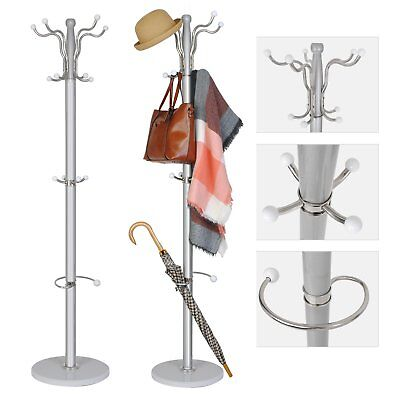 Tree Style 15 Hooks Hat Coat Clothes Rack Wooden Umbrella Stand Marble Base Ring
