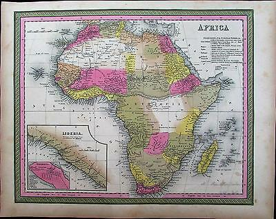 "Africa ""Mountains of the Moon"" myth Liberia Egypt 1848 Mitchell fine antique map"