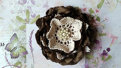 Vintage Fabric Flower with Gorgeous Diamante Center ~ 9cm ~ Design #1